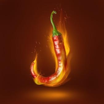 Red hot chili peper op bruin oppervlak met vlam