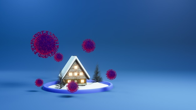 Red huis van het coronavirus covid 19-virus. blijf thuis. huis in dome glas met coronavirus covid 19. 3d-weergave.
