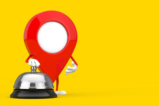 Red map pointer target pin character mascot met hotel service bell call op een gele achtergrond. 3d-rendering