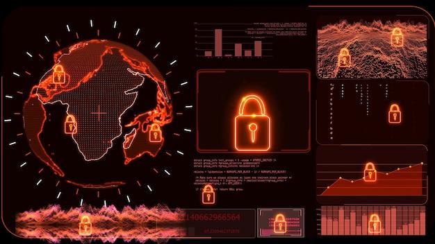 Red monitor digitale wereldwijde wereldkaart en analyse van technologieonderzoek om ransomware te beschermen