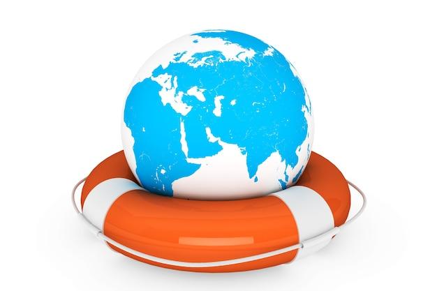 Reddingsboei en earth globe op een witte achtergrond