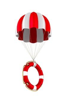 Reddingsboei en parachute op wit.