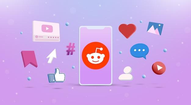 Reddit-logopictogram op de telefoon met sociale netwerkpictogrammen rond 3d