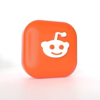 Reddit-toepassingslogo met 3d-weergave