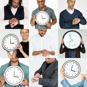 Reeks diverse mensen met de collage van de collage van het tijdbeheer