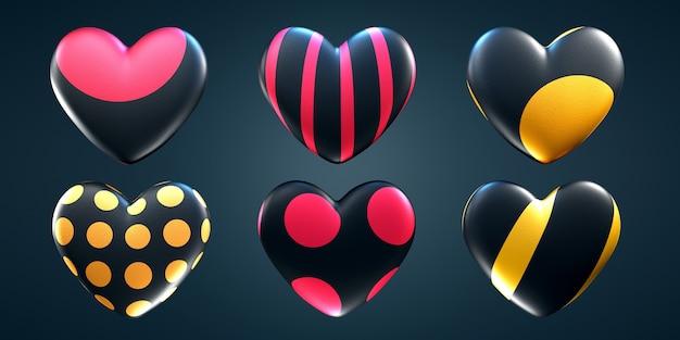 Reeks harten van verschillende patronen op een geïsoleerde donkere achtergrond.