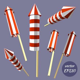 Reeks vuurwerk, poppers op witte achtergrond wordt geïsoleerd die. verjaardag vieren. laag poly-stijl.