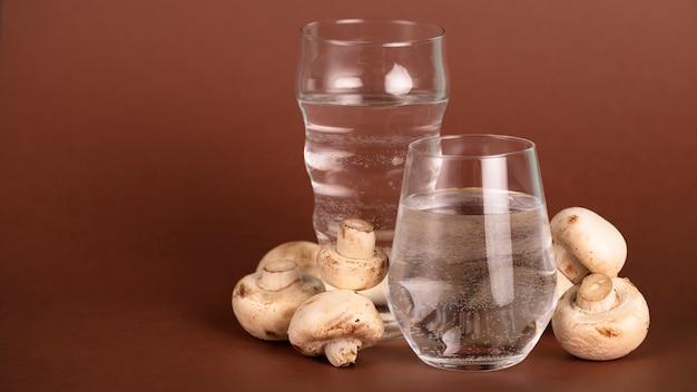 Regeling met champignons, water en kopie-ruimte