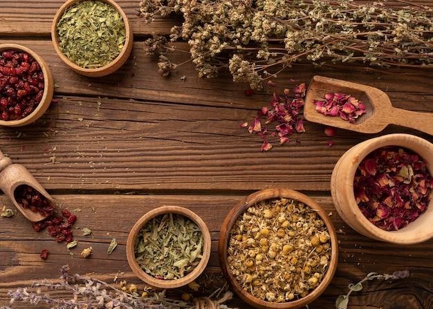 Regeling van natuurlijke verschillende kruiden kopiëren ruimte