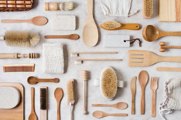 Regeling van spa- en beautyaccessoires bovenaanzicht