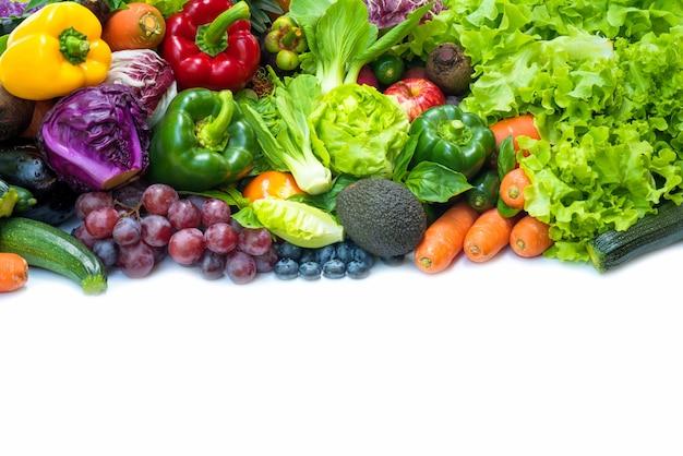 Regeling verschillende biologische groenten voor gezond eten en een dieet volgen