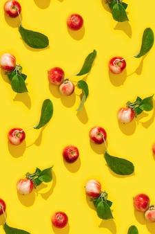 Regelmatig creatief patroon van rijpe kleine rode appels en groene bladeren op geel