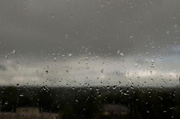 Regen valt in de zomer op het raam