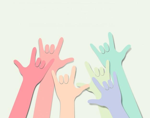 Regenboog gekleurde hand met liefde symbole.lgbtq achtergrond.
