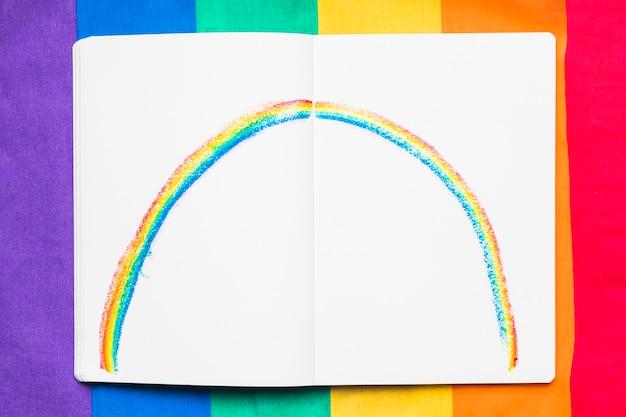 Regenboog geschilderd op papier