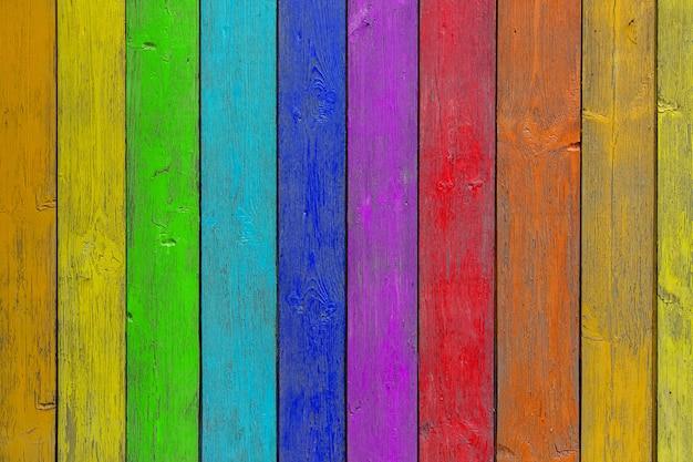 Regenboog houten achtergrond
