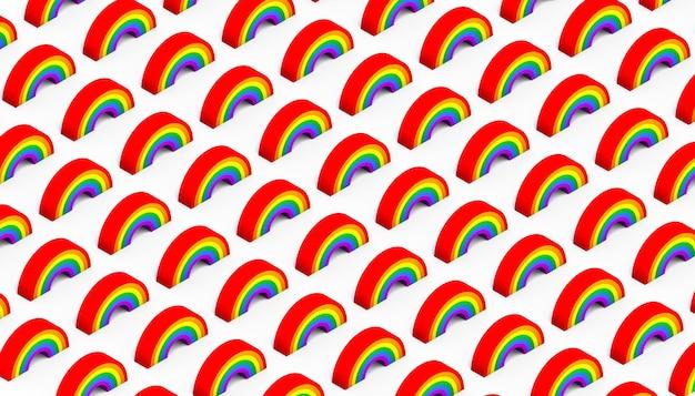 Regenboog isometrisch patroon. achtergrond. 3d illustratie.