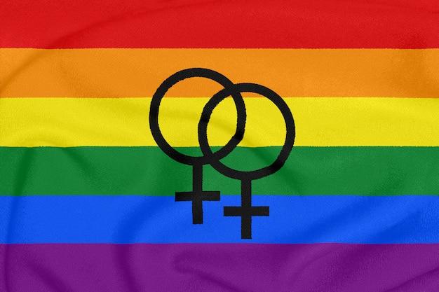 Regenboog lesbische trots vlag
