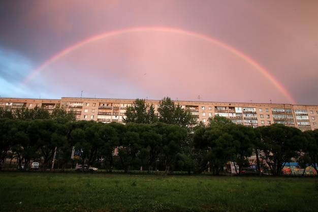 Regenboog licht zonsondergang wolk donker
