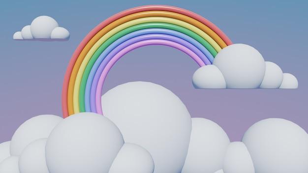 Regenboog met wolken pastel, 3d render