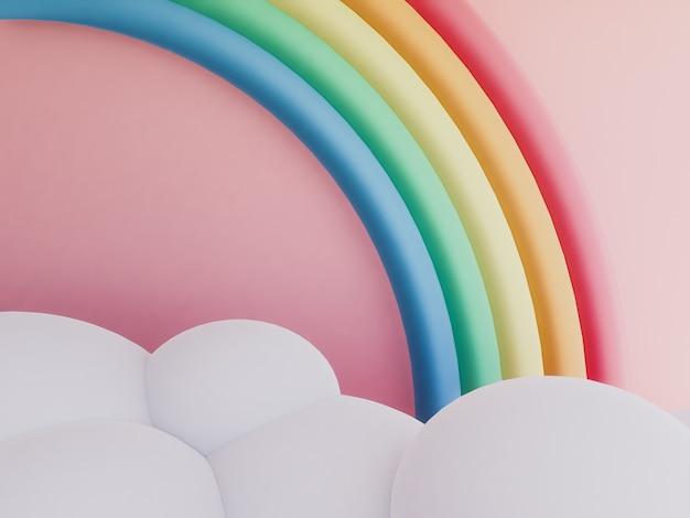 Regenboog met wolken pastel achtergrond