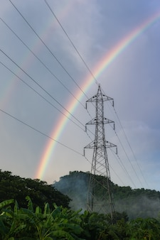 Regenboog na regen.
