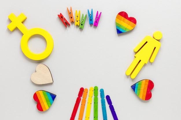 Regenboogvoorwerpen voor trotsdag
