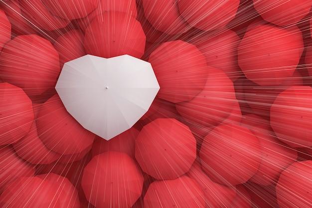 Regendruppels vallen uit de top van de lucht op de paraplu in de vorm van een hart