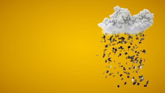 Regent geld uit wolk op gele achtergrond. 3d-weergave. conceptueel.