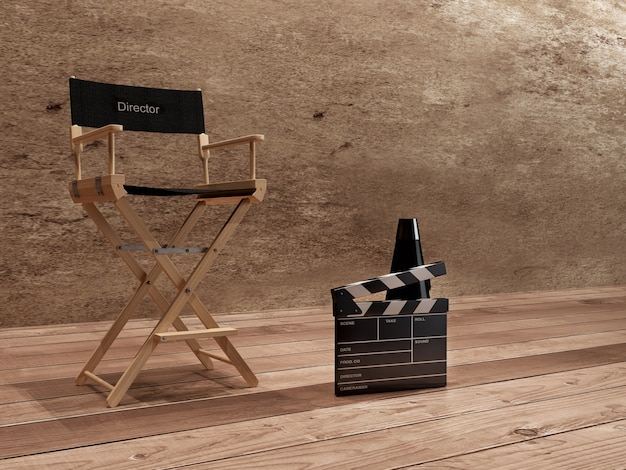 Regisseur stoel, film klepel en megafoon ..