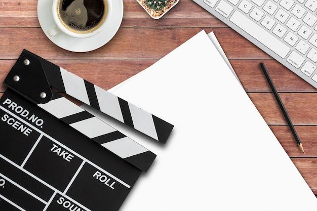 Regisseur van de film. bovenaanzicht shot