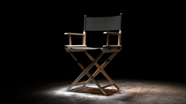 Regisseursstoel, filmklep en megafoon in 3d-rendering