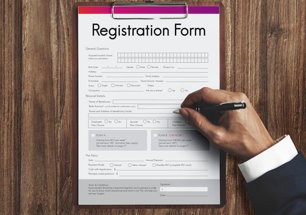 Registratie aanvraagformulier papieren formulier concept