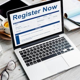 Registreer nu document vullen form concept