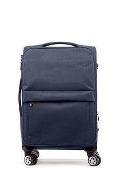 Reis blauwe koffer geïsoleerd