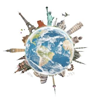 Reis het concept van het wereldmonument