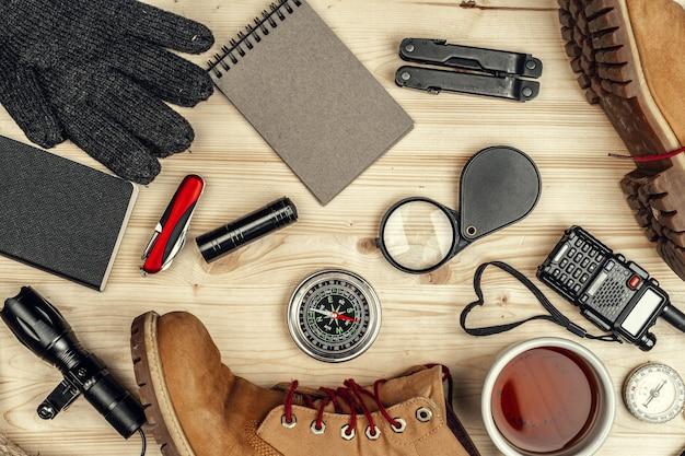 Reis hulpmiddelen voor wandeluitrusting, bekijk van bovenaf