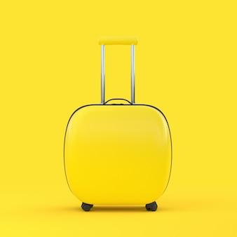 Reis koffer gele kleur geïsoleerd met uitknippad en mock-up voor uw tekst