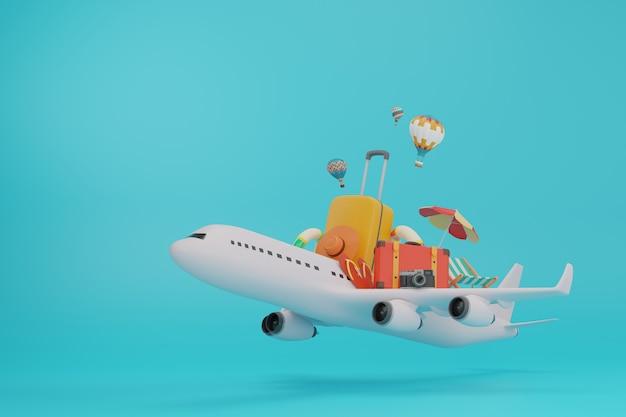 Reis per vliegtuig, compleet met bagage, slippers, camera en strandstoelen met een 3d-programma.