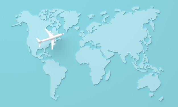 Reis wereldkaart achtergrond met vliegtuig, bovenaanzicht. 3d-weergave