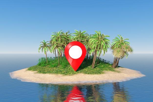 Reisconcept. kaartaanwijzer op een woestijnzandeiland met palmbomen in het midden van de oceaan extreme close-up. 3d-rendering