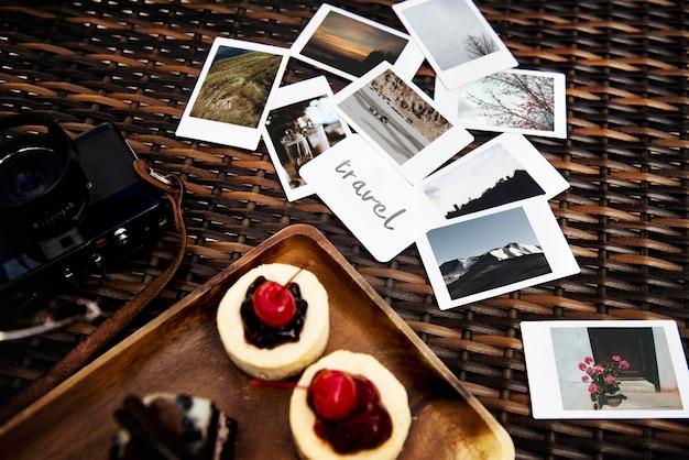 Reisfoto's met snoep dessertreis vakantie