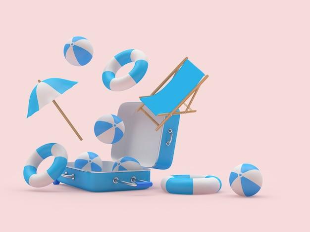 Reiskoffer met strandballen en een parasol en een ligstoel