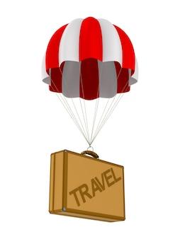 Reistas en parachute op wit