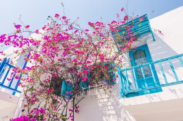 Reizen bougainvillea cycladen griekenland blauw