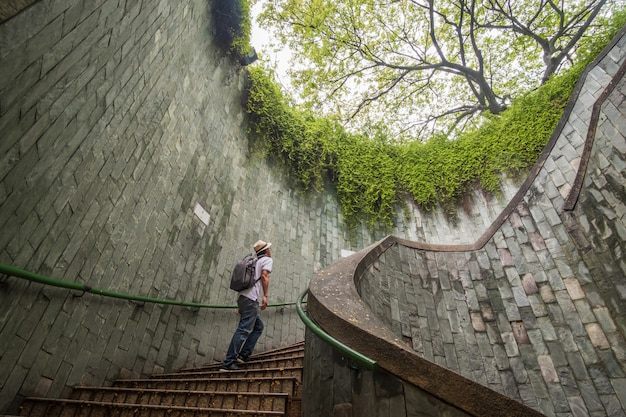 Reizen in fort canning park in singapore