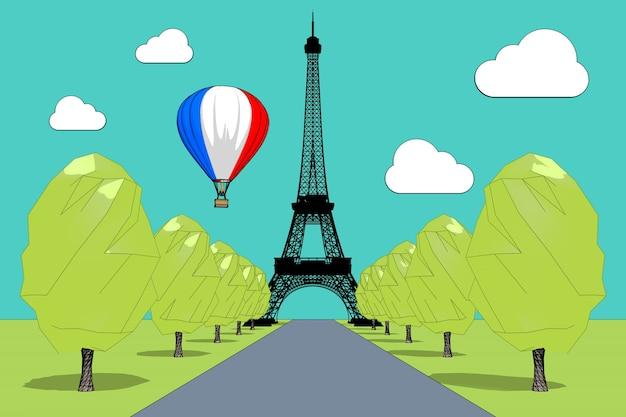 Reizen naar frankrijk concept. hete luchtballon in de lucht met franse vlag over de eiffeltoren in schets en toon stijl extreme close-up. 3d-rendering