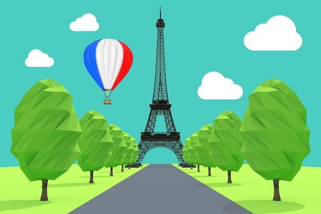 Reizen naar frankrijk concept. hete luchtballon in de lucht met franse vlag over de extreme close-up van de eiffeltoren. 3d-rendering