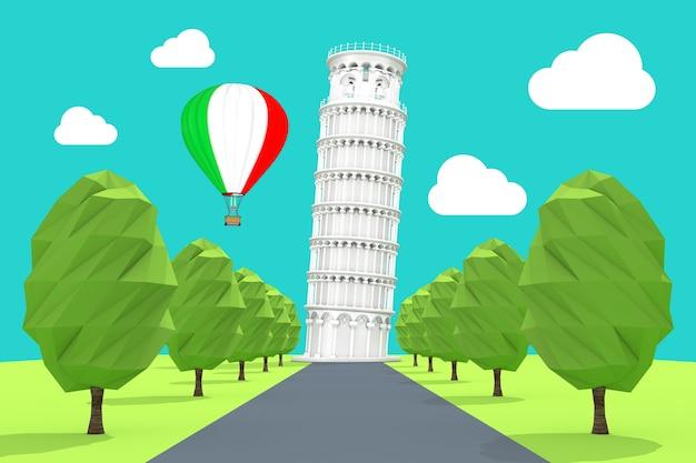 Reizen naar italië concept. hete luchtballon in de lucht met italië vlag over de scheve toren van pisa extreme close-up. 3d-rendering