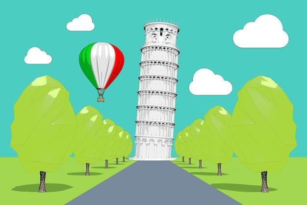 Reizen naar italië concept. hete luchtballon in de lucht met italië vlag over de scheve toren van pisa in schets en toon stijl extreme close-up. 3d-rendering